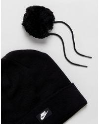Nike Pom Pom Beanie In Black
