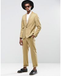 Religion Natural Straight Suit Jacket In Cotton In Camel for men