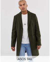 Abrigo de mezcla de lana en caqui de Tall-Verde ASOS de hombre de color Green