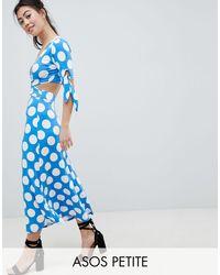ASOS Blue Asos Design Petite Wrap Front Tea Dress With Bow Sleeve