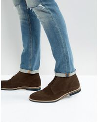 ASOS DESIGN - Asos Lace Up Boots In Brown Suede With Contrast Sole for Men - Lyst