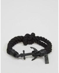 Icon Brand - Anchor Woven Bracelet In Black for Men - Lyst