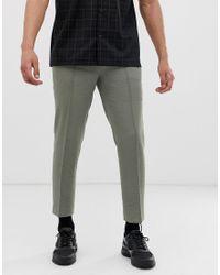 Pantalones de vestir capri ajustados de crepé en oliva con textura ASOS de hombre de color Green