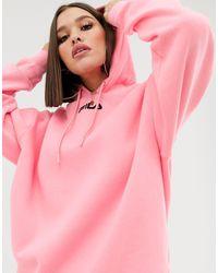 Худи Свободного Кроя С Вышивкой Логотипа -розовый Fila, цвет: Pink