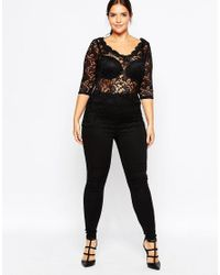 Carmakoma - Black Scalloped Scoop Neck Top In Lace - Lyst