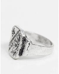 Серебристое Кольцо-печатка Inspired-серебряный Reclaimed (vintage) для него, цвет: Metallic