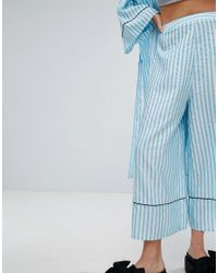 Reclaimed (vintage) Blue Inspired Striped Wide Leg Pants With Piping