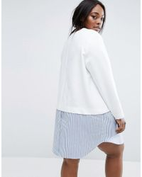 ASOS - White 2 In 1 Stripe Shift Mini Dress - Lyst
