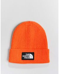 The North Face Logo Box Cuffed Beanie Hat In Orange for men