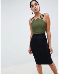 Vestido de tubo con diseño colour block y detalle de tiras Vesper de color Green