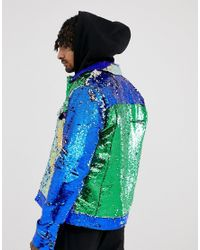 ASOS Green Festival Western Jacket With Cut And Sew Sequins for men