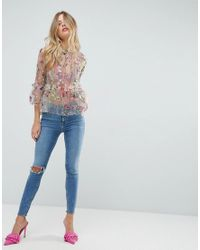 ASOS Multicolor Premium Embroidered Ruffle Smock Top