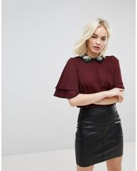 New Look Embroidered Collar Frill Sleeve Top