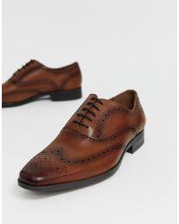 Светло-коричневые Кожаные Броги Macro Office для него, цвет: Brown