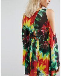 Jaded London   Multicolor Tie Dye Print Cold Shoulder Beach Dress   Lyst
