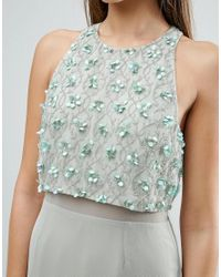 ASOS - Blue Embellished Crop Top Midi Pencil Dress - Lyst