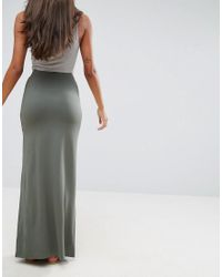 ASOS - Green Jersey Maxi Skirt With Pockets - Lyst