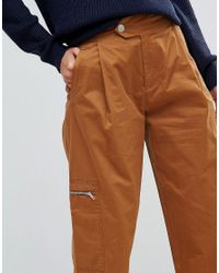 ASOS - Brown Daphne Casual Cropped Pants With Zip Detail In Tan - Lyst