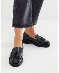 London Rebel Loafers Met Dikke Zool, Kwastjes in het Black