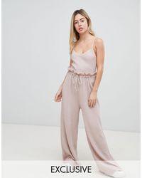 Pantaloni coordinati a vita alta con cintura di Micha Lounge in Pink