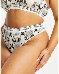 Хлопковые Стринги Со Змеиным Принтом Plus Size Ck One-кремовый Calvin Klein, цвет: Multicolor