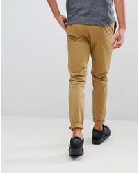 Pull&Bear Brown Skinny Chinos With Belt In Tan for men