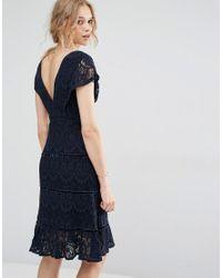 Foxiedox Blue Lace Midi Dress