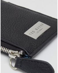 Ted Baker Black Snapps Leather Zip Card Wallet for men