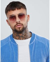 River Island Metallic Sunglasses With Pink Lens In Gold for men