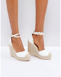 Truffle Collection - White Studded Ankle Strap Heeled Espadrilles - Lyst
