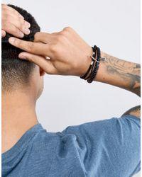 Icon Brand - Black Bead & Woven Bracelets In 3 Pack for Men - Lyst