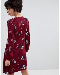 Mango Red Ruffle Detail Floral Dress