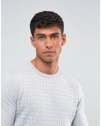 Threadbare - Gray Cable Knit Jumper for Men - Lyst