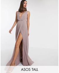 Vestido largo plisado con nudo en la parte posterior ASOS de color Multicolor