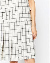 ASOS Multicolor Le Kilt For Funnel Neck Short Sleeve Pleat Dress
