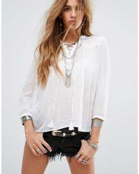 Denim & Supply Ralph Lauren White Lace Up Artists Shirt