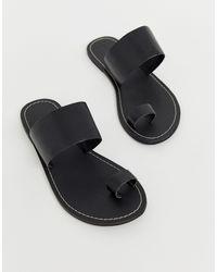 Warehouse Black – e Sandalen mit Zehenschlaufe