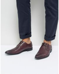 Frank Wright - Red Toe Cap Derby Shoes In Burgundy Leather for Men - Lyst