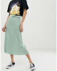 Jupe mi-longue torsadée - Vert Pull&Bear en coloris Blue
