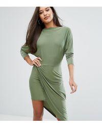 Club L - Green Slashed Neck Midi Dress With Wrap Skirt - Lyst