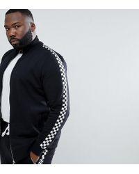 Criminal Damage Trainingsjacke mit Zierband im Schachbrettmuster, exklusiv bei ASOS in Black für Herren