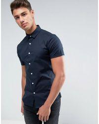 ASOS - Blue Skinny Shirt In Navy for Men - Lyst