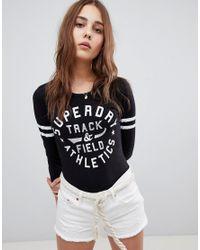 Superdry Black Trackster Jersey Bodysuit