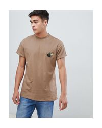 T-shirt color visone con pantera ricamata di New Look in Pink da Uomo