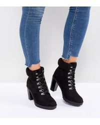 New Look Black Heeled Hiker Boot