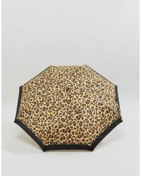 Fulton - Brown Minilite 2 Painted Leopard Umbrella - Lyst