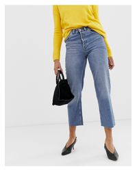 Warehouse Blue Straight Cut Jeans In Stone Wash