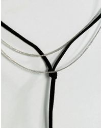 ASOS - Metallic Asos Simple Bolo And Chain Multirow Choker Necklace - Lyst