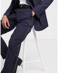 Темно-синие Облегающие Брюки ASOS для него, цвет: Blue