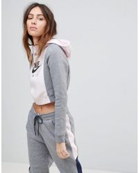 2b07c4d006e24 Nike Air Cropped Colourblock Hoodie in Gray - Lyst